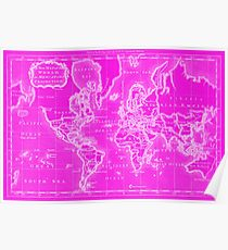 Girly world map psters redbubble pster world map 1766 pink white gumiabroncs Image collections