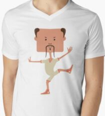Funny karate man Men's V-Neck T-Shirt