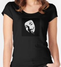 V for vendetta mask Women's Fitted Scoop T-Shirt