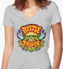 Battle Tribes Skull Logo (Distressed) Fitted V-Neck T-Shirt
