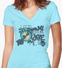 My Ideas Wake Me. Women's Fitted V-Neck T-Shirt