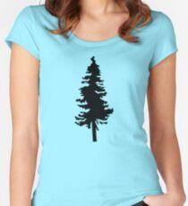 Plain Black Tree   Doug Fir/Pine/Evergreen Women's Fitted Scoop T-Shirt