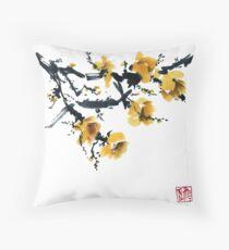 Yellow plum tree Throw Pillow