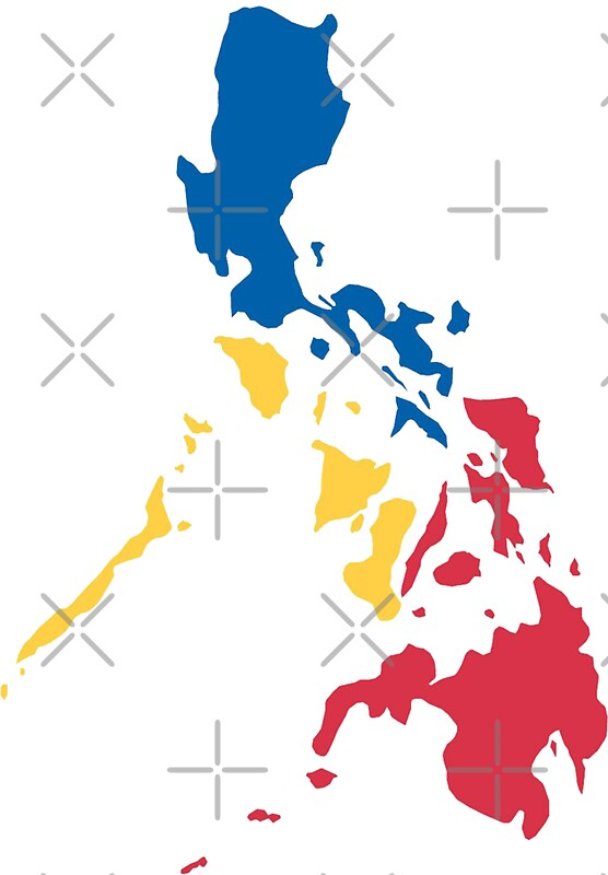 Philippines Filipino Map Sun And Stars Flag Stickers By - Philippines map