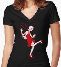 red flapper girl Women's Fitted V-Neck T-Shirt