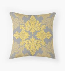 Golden Folk - doodle pattern in yellow & grey Throw Pillow