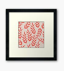 Red branches pastel pattern Framed Print