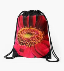 Red Flower Gerbera Drawstring Bag