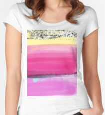 Watercolor Abstract Layers Version1 Pink Vivid Women's Fitted Scoop T-Shirt
