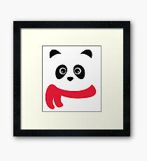 Cute panda with scarf Framed Print