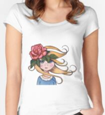 Big-Eyed Girl with ROSE, No. 2, Whimsical Art, Surreal Art Women's Fitted Scoop T-Shirt