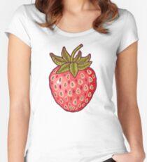 Camiseta entallada de cuello ancho campos de fresas