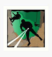 Abseil or Rappel, Rock Climber Art Print