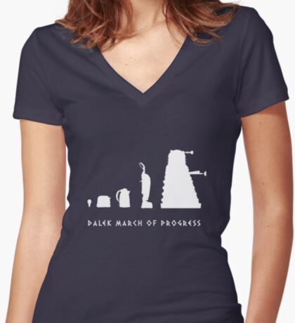 Dalek March of Progress White Women's Fitted V-Neck T-Shirt