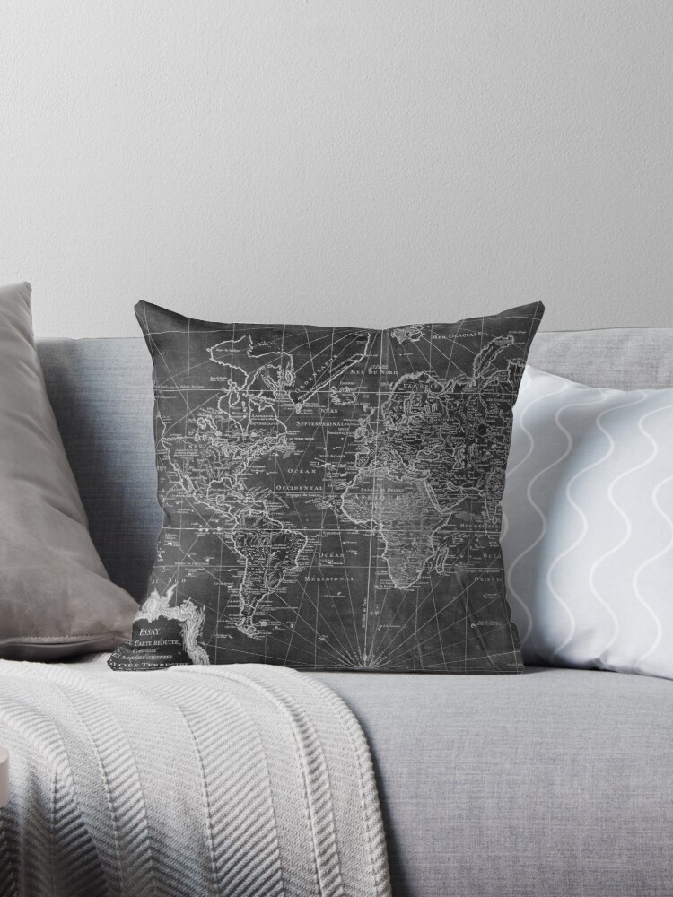 World map 1778 black white throw pillows by bravuramedia world map 1778 black white by bravuramedia gumiabroncs Images