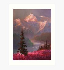 Lámina artística Denali Summer - Alaskan Mountains in Summer Landscape Painting