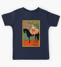 The circus girl, black horse, vintage antique advertisement Kids Tee
