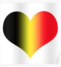 Heart in Belgium Flag Colors Poster