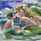 Mermaid and Mermboy on the Beach by Robin Pushe'e