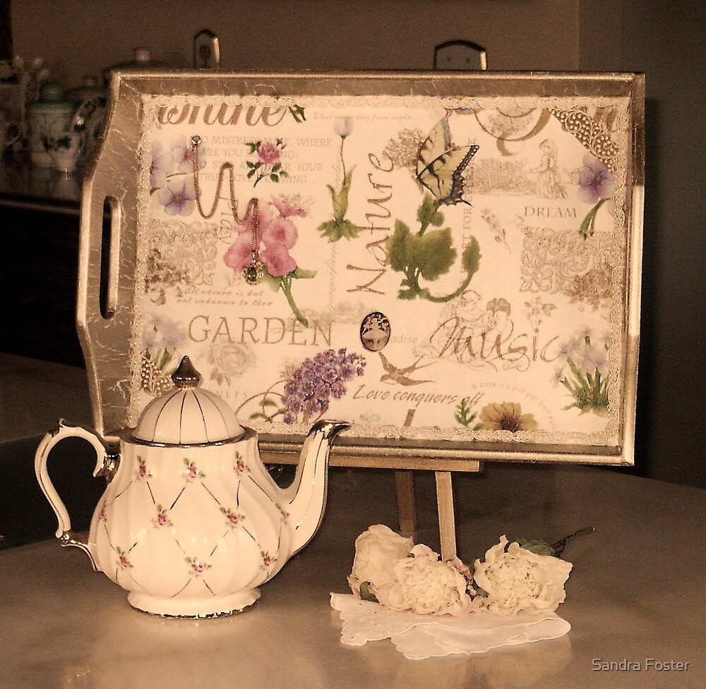 Tray And Tea Pot Still Life by Sandra Foster