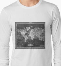 Vintage Map of The World (1833) White & Black Long Sleeve T-Shirt