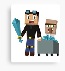 The Diamond Minecart DanTDM and Doctor Trayaurus - Minecraft Youtuber Canvas Print