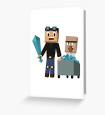 The Diamond Minecart DanTDM and Doctor Trayaurus - Minecraft Youtuber Greeting Card