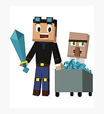 Der Diamant Minecart DanTDM und Doktor Trayaurus - Minecraft Youtuber Fotodruck