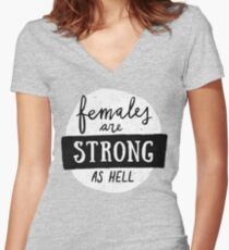 Females Are Strong As Hell | Pink Women's Fitted V-Neck T-Shirt