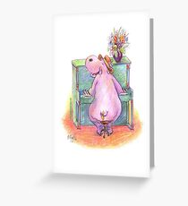 Hippo playing the Piano Pencil Drawing of Music Animal Greeting Card