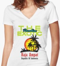 The Exotic Paradise, Raja Ampat Women's Fitted V-Neck T-Shirt