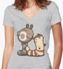 Furry Ferrets Women's Fitted V-Neck T-Shirt