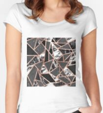 Modern Rose Gold Glitter Marble Geometric Triangle Women's Fitted Scoop T-Shirt