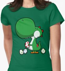 Egg Chuckin' Dinosaur Women's Fitted T-Shirt