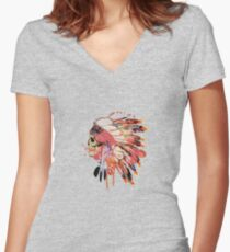 Indie skull Women's Fitted V-Neck T-Shirt