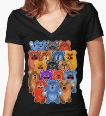 BEAR CROWD 3 Women's Fitted V-Neck T-Shirt