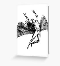 ICARUS THROWS THE HORNS - black ***FAV ICARUS GONE? SEE BELOW*** Greeting Card