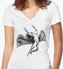 ICARUS THROWS THE HORNS - black Women's Fitted V-Neck T-Shirt