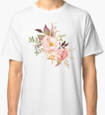 Peach Watercolor Peonies Classic T-Shirt