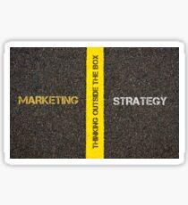 Antonym concept of MARKETING versus STRATEGY Sticker