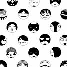 Black and White faces and masks by NatalieBorn
