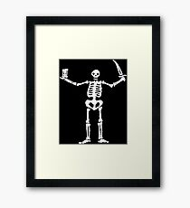 Black Sails Pirate Flag White Skeleton Framed Print