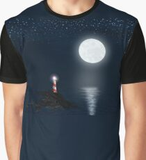 Lighthouse and Full Moon Graphic T-Shirt