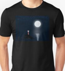 Lighthouse and Full Moon Unisex T-Shirt