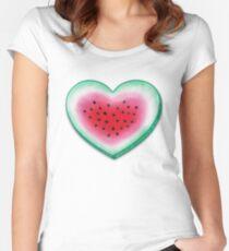 Summer Love - Watermelon Heart Women's Fitted Scoop T-Shirt