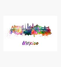 Mexiko City Skyline im Aquarell Fotodruck