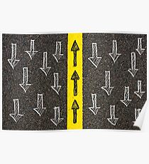 Concept image with road marking yellow line  Poster