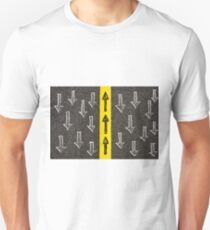 Concept image with road marking yellow line  T-Shirt