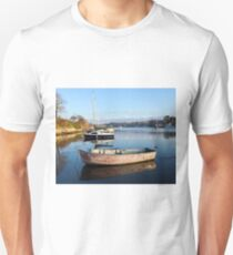 Happy Reflections Of An Old Red Boat T-Shirt
