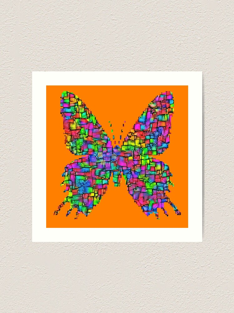 Alternate view of Artificial neural style Simplex pixel Papilio Gloria butterfly Art Print
